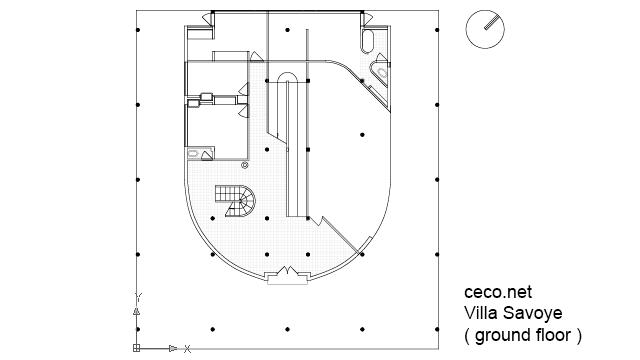 Autocad Drawing Villa Savoye Le Corbusier Ground Floor