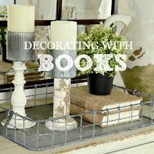 DECORATING WITH BOOKS-budget friendly ideas-stonegableblog.com