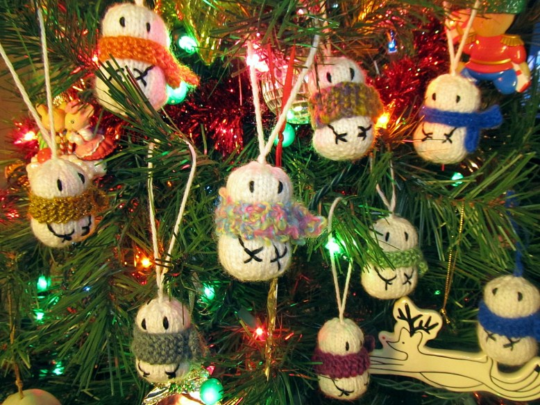 Knitted Snowman Army Ornaments