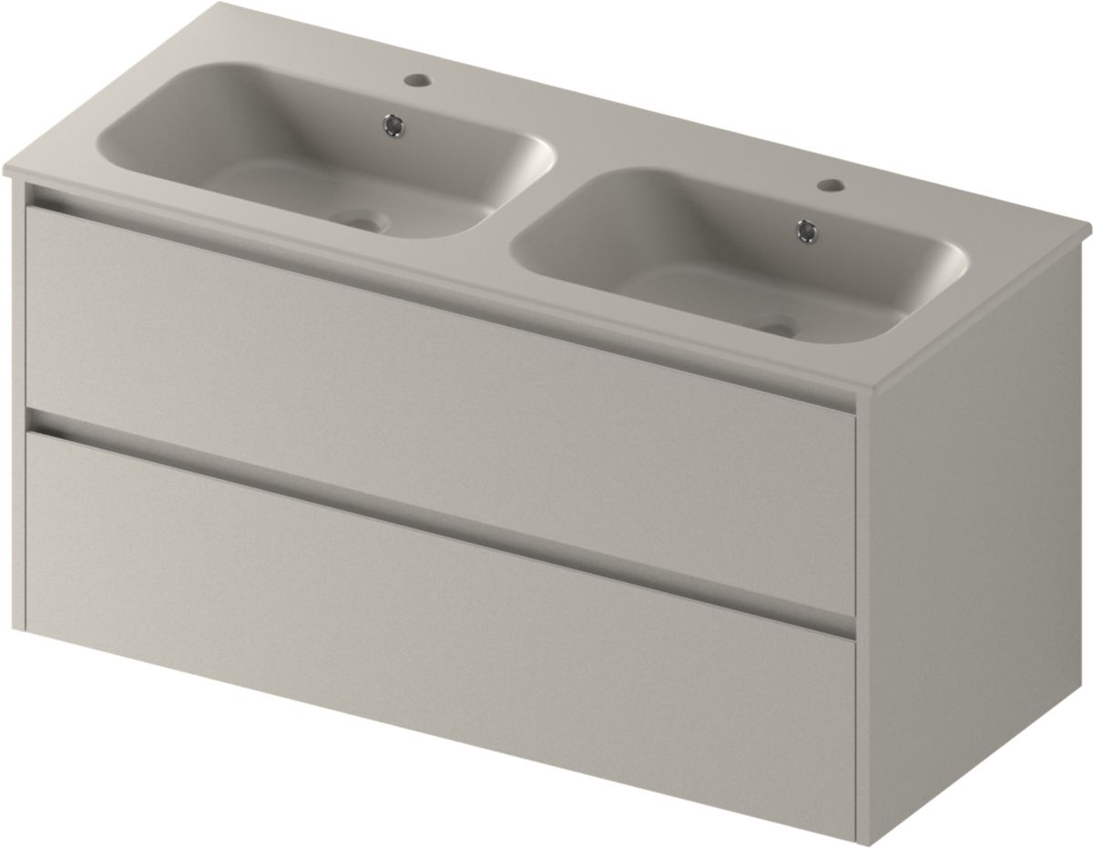 Double Vasque 120 Plan De Toilette All Day Double Vasque 120 Cm Céramique Taupe Mat Réf Lavaluin2xr58176