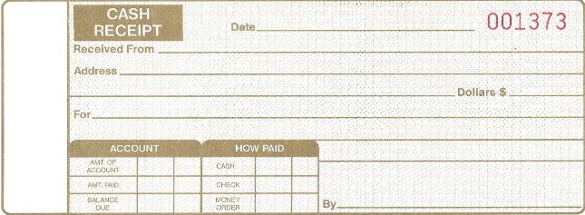 Personalized Cash Receipt Books, Auto Sales, Shop Supplies - cash receipt