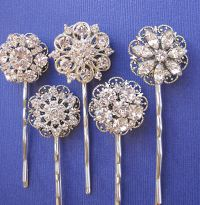 Wedding Accessories, Hair Pins, 5 Hair Pins, Rhinestone