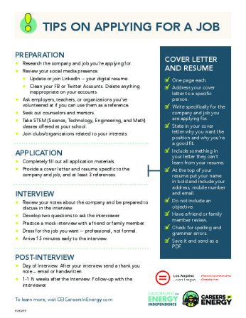 TIPS ON APPLYING FOR A JOB