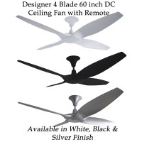 Designer 4 Blade 60 inch (1524mm) DC Ceiling Fan with ...