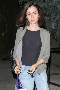 Lily Collins - Leaving the Salon With Her Normal Hair ...