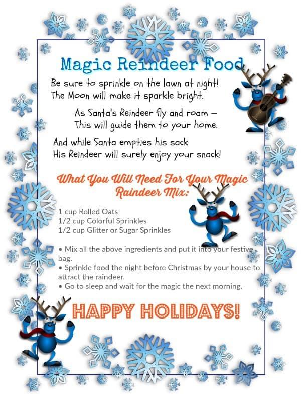Download PRINTABLE \u2013 Magic Reindeer Food And A Poem