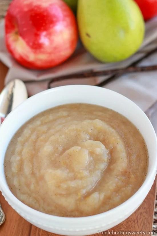 Vanilla Apple Pear Sauce ~ Celebrating Sweets