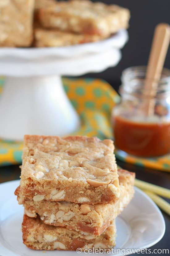 The easiest, most delicious recipe for Caramel, Cashew & White Chocolate Blondies