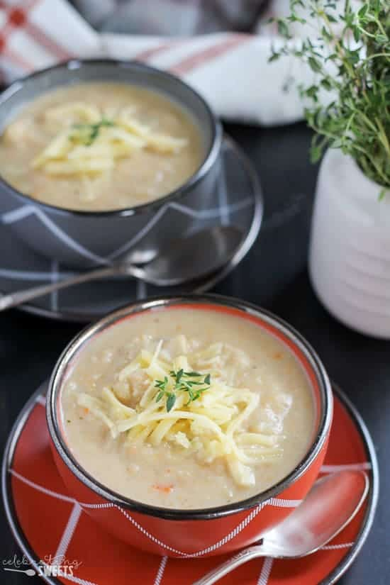 Roasted Cauliflower Soup with White Cheddar -A lighter version of creamy cauliflower soup filled with roasted cauliflower and served with white cheddar cheese.