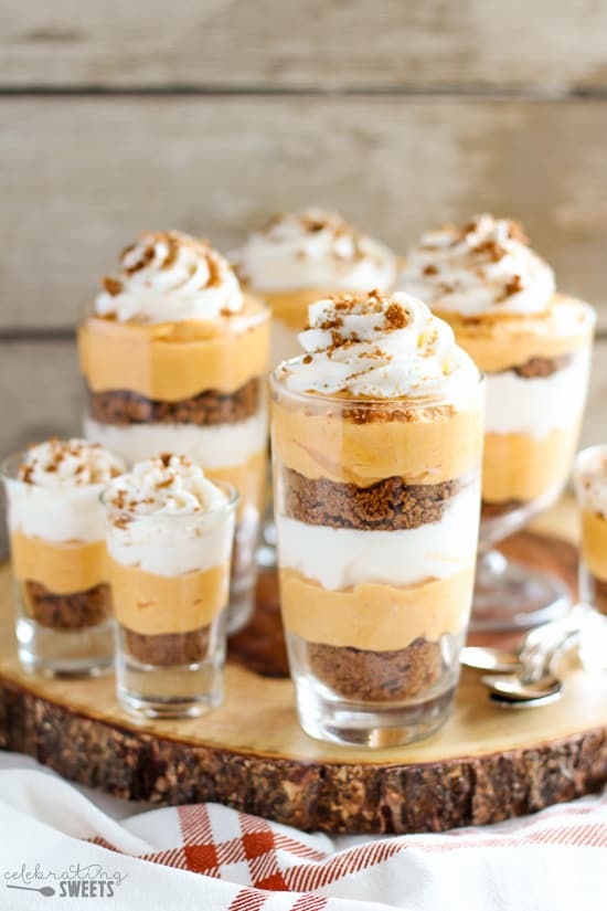 Pumpkin Cream Pie Trifles - Pumpkin cream cheese filling layered with whipped cream and crushed gingersnap cookies. Similar to pumpkin pie and pumpkin cheesecake!