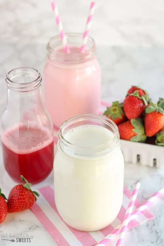 Strawberry Milk - Sweet and creamy strawberry milk filled with the flavor of fresh strawberries. Ditch the store bought syrup, this easy recipe is only 3 ingredients; with no artificial colors, flavors, or dyes.