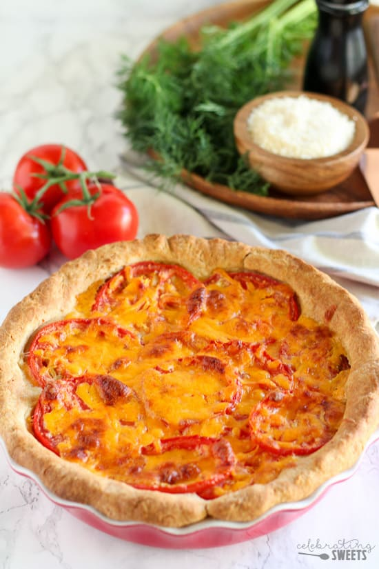 Savory Tomato Cheddar Pie | Celebrating Sweets