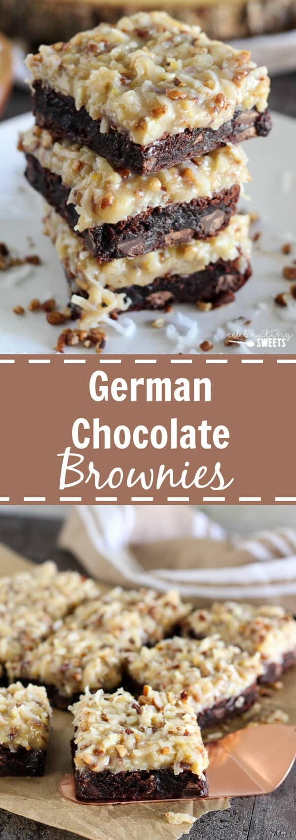 German Chocolate Brownies - Rich chocolaty brownies topped with a ...