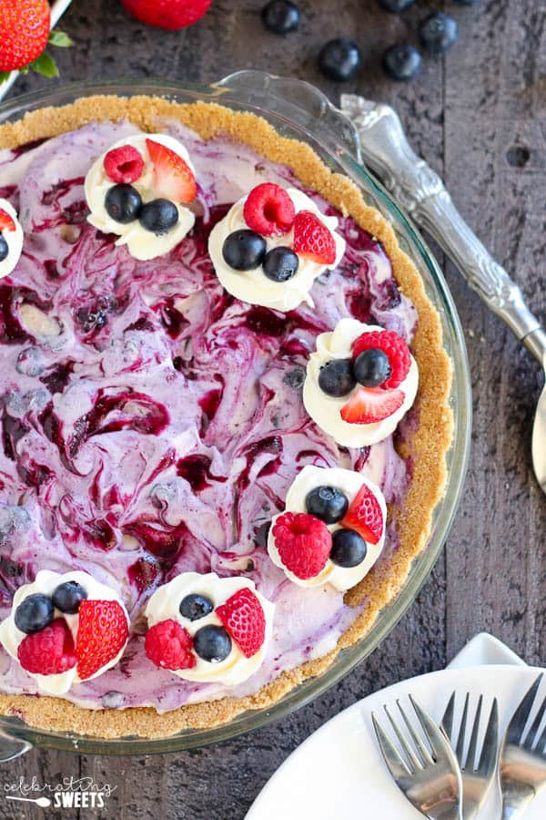 Mixed Berry Ice Cream Pie-2