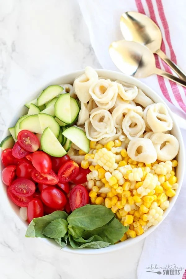 Corn, Tomato and Tortellini Pasta Salad | Celebrating Sweets