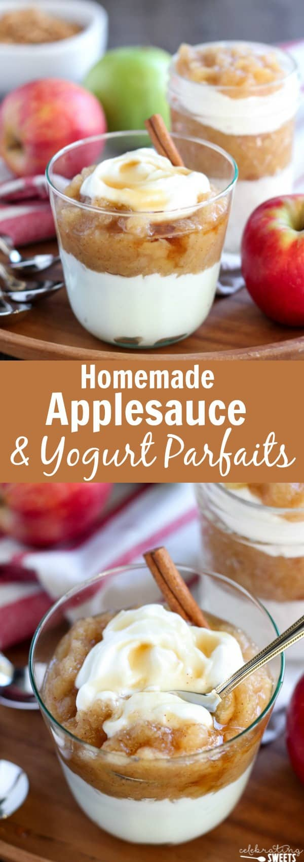 Homemade Applesauce and Yogurt Parfaits - Homemade applesauce flavored with cinnamon and maple syrup and served with yogurt and granola.
