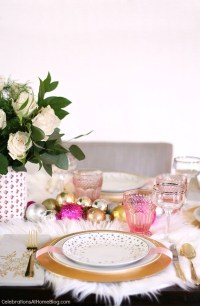 White & Pink Christmas Table Setting - Celebrations at Home