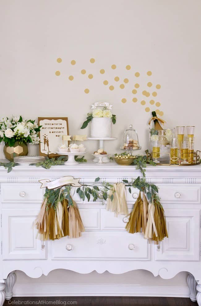 1st Anniversary Party Ideas in Gold  White - Celebrations at Home - anniversary party ideas