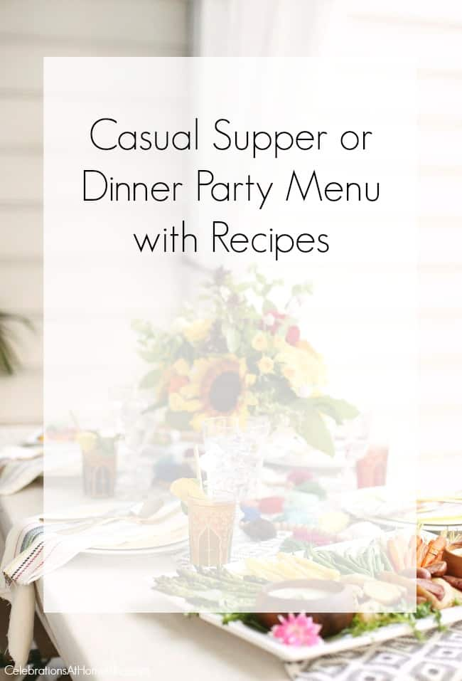 Table Bar Occasion Casual Supper Or Dinner Party Menu & Recipes