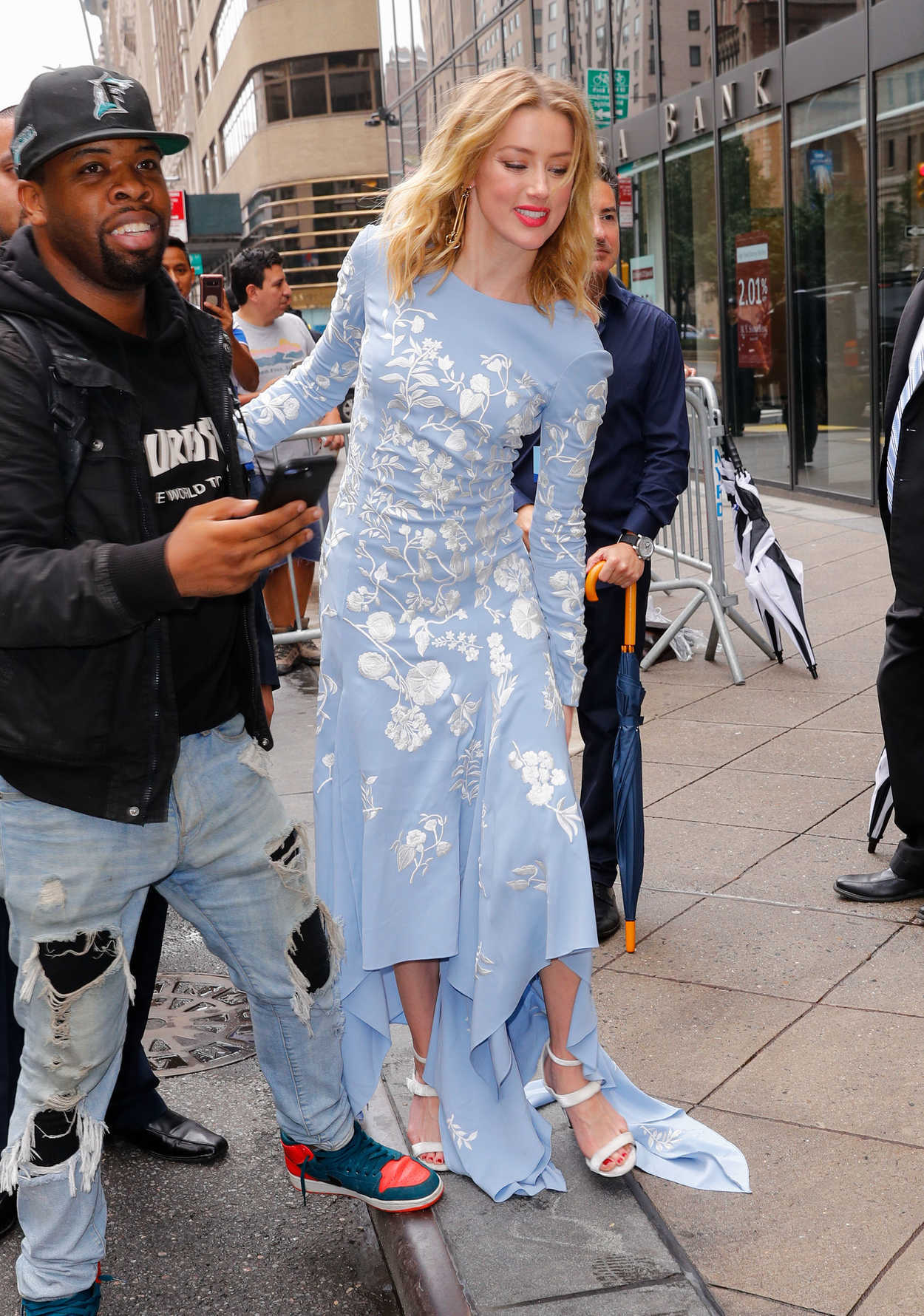Baby Model Nyc Amber Heard In A Baby Blue Dress Was Seen Out In Nyc 09 11