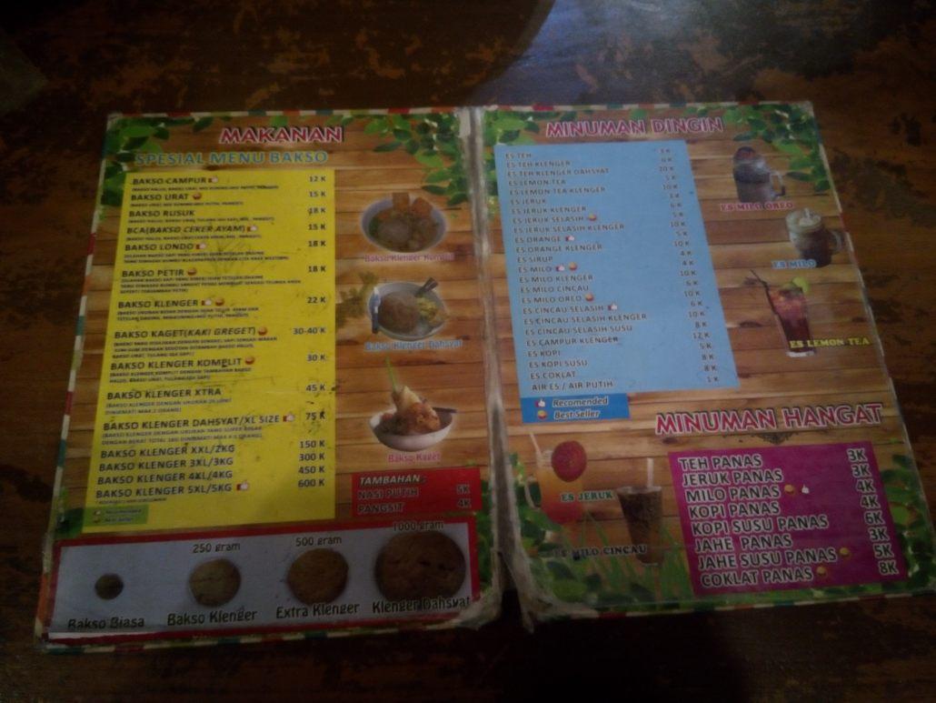 Buku Menu - Alamat: Jl. Wahid Hasyim, Kabupaten Sleman, Daerah Istimewa Yogyakarta