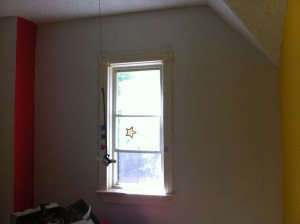 We primed the walls with tinted and non-tinted primer, depending on what colours he wanted on each wall.