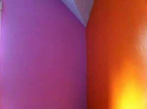 The northwest corner of The Nipper's room. West is pink and north is orange.