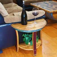 Small Half Moon WINE BARREL End Sofa Chair Side Wall Table ...