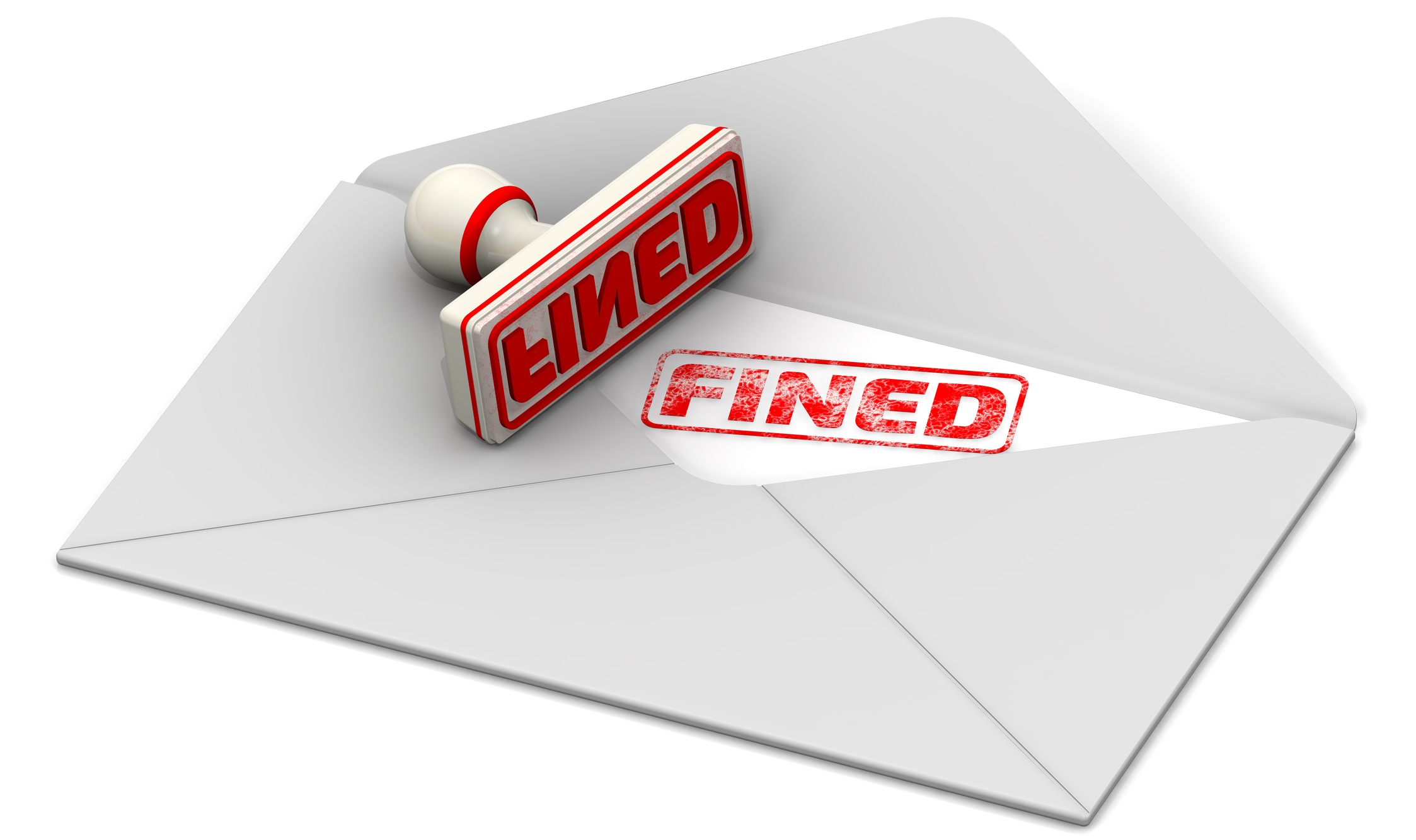 """Red seal and imprint """"FINED"""" on the sheet of open postal envelope. Isolated. 3D Illustration"""