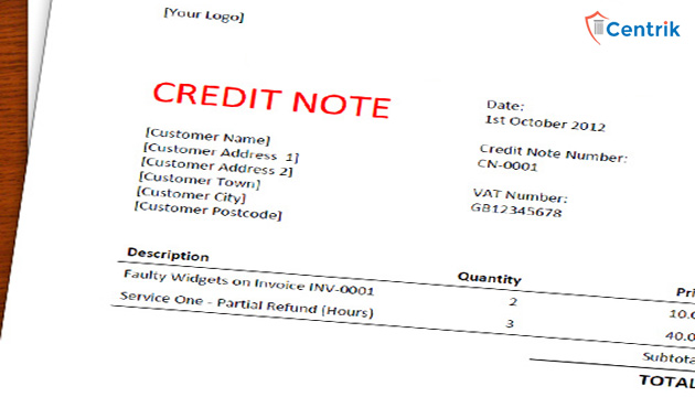 Provisions for issuing Credit Note under GST
