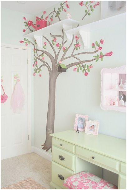 Girl s room in bloom centsational style for Cherry tree mural