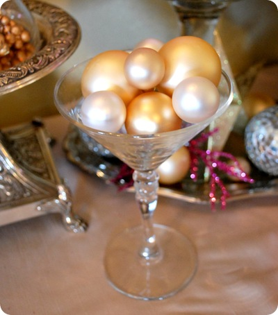 champagne glass with ornaments