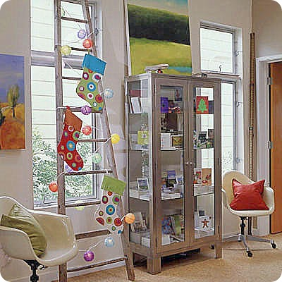 cherry picking ladder display coastal living