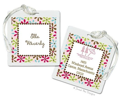 fun daisies luggage tag