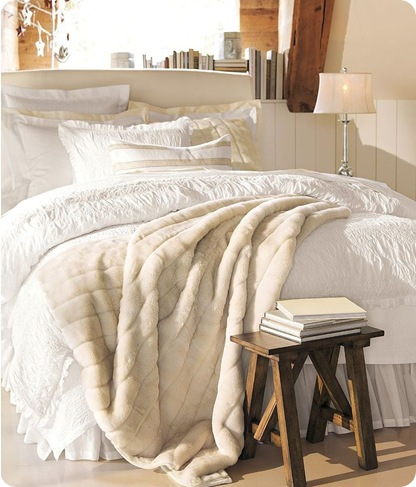 pottery barn fur throw