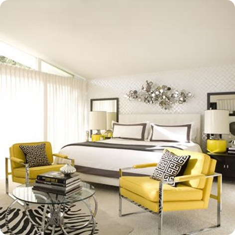 graphic yellow and gray bedroom