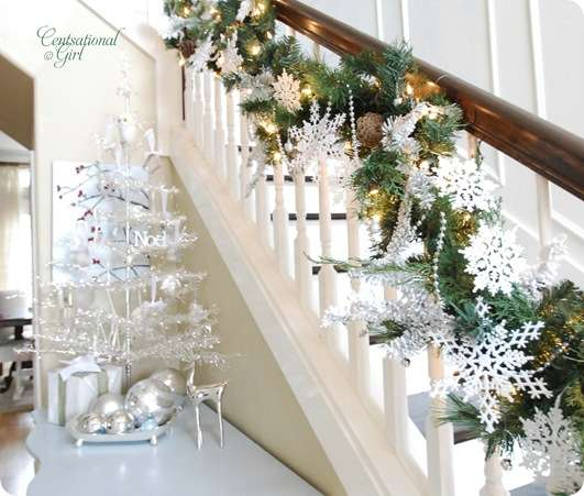cg snowflakes on stairs