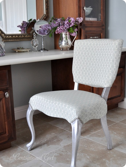 silver leaf vanity chair