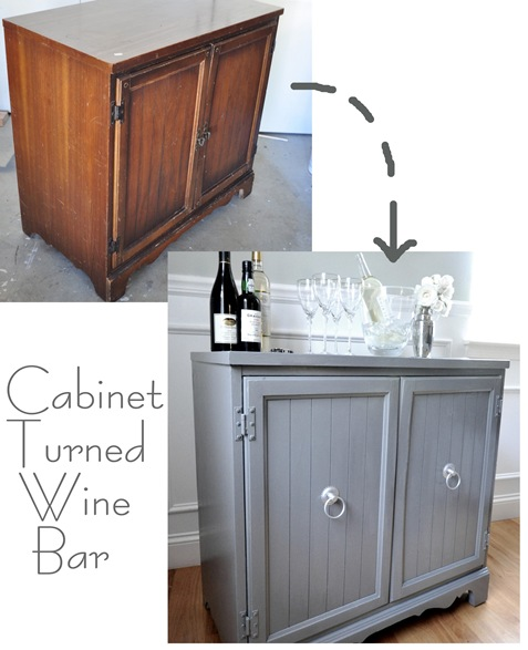 cabinet turned wine bar
