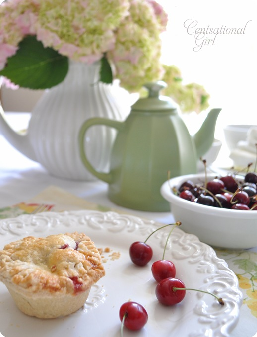 centsational girl mini cherry pie on plate
