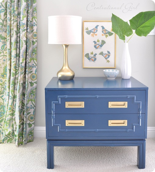 peacock blue faux bamboo chest with curtain