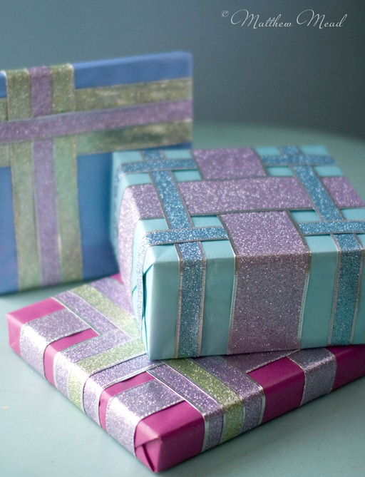 glitter ribbon wrapped gifts matthew mead