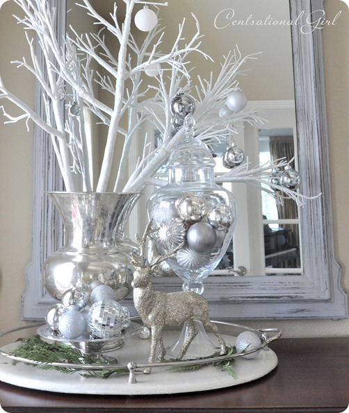 entry mirror silver reindeer