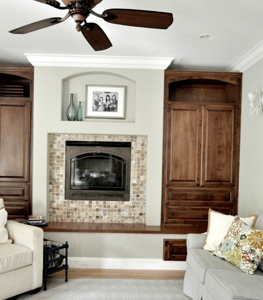 dark wood family room cabinets