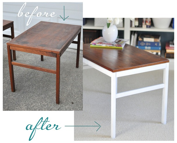 side table before and after