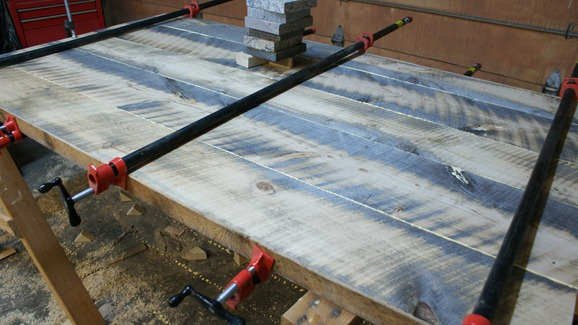 clamped wood boards