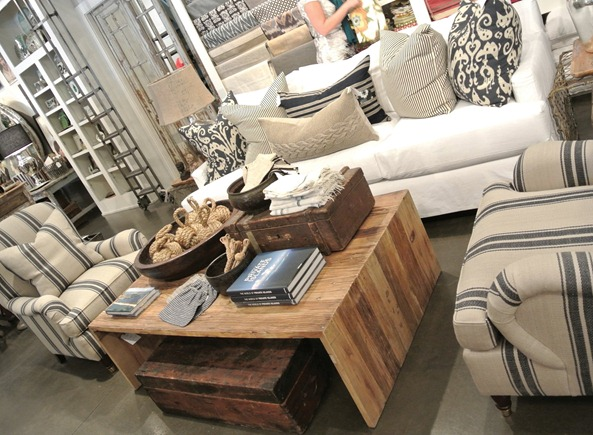 striped chairs rustic coffee table