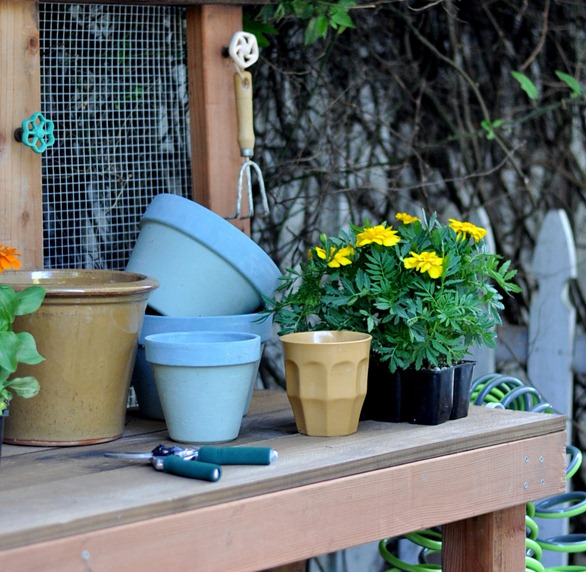 top of potting bench