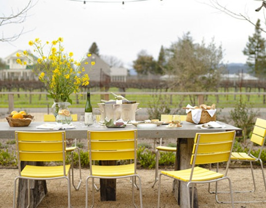 yellow chairs outdoors