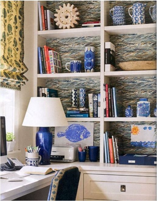 marbled paper backed bookcases house beautiful